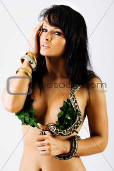 Sexy woman with a snake