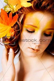 Autumn portrait of a female model