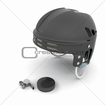 Ice hockey helmet, puck and whistle