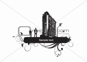black silhouette of city and two men with floral elements and place for text