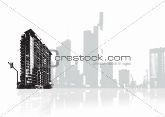 city reflected in the water, vector wallpaper