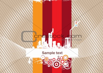 city silhouette with elements and place for text, vector illustration