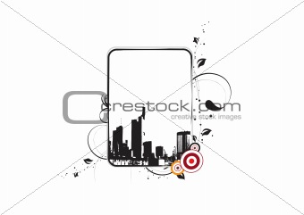 cityscape floral frame with halftone elements on white background, wallpaper