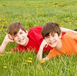 Brothers Laying in a Field