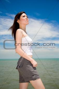 beautiful girl looking skywards