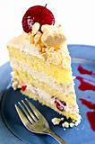 Slice of strawberry meringue cake