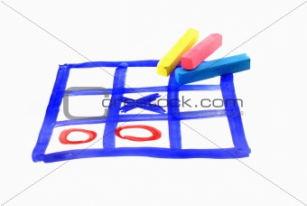 tic tac toe and piece of chalk
