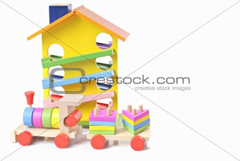 toy wooden train and house