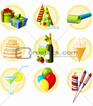 Birthday and celebration objects icon set