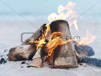 Close-up of Bonfire at beach