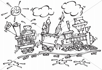Baby train with pencils and brushes_Black