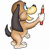 Dog and crayon