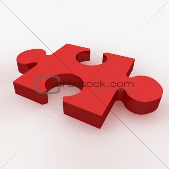 A 3d render of a red puzzle piece