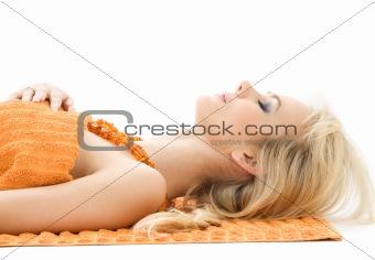 beautiful lady with orange towels