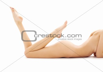 torso of relaxed naked woman