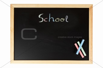 Chalkboard with colored chalks