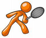 Orange Woman Tennis Racket