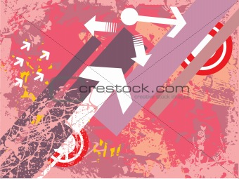 arrows and target on grunge background