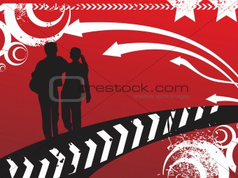 black silhouette couple with arrows red background, wallpaper
