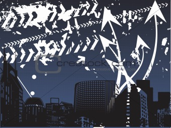 city silhouette background with arrow elements