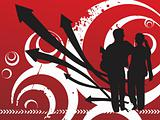red halftone background with arrows and silhouette couple, wallpaper
