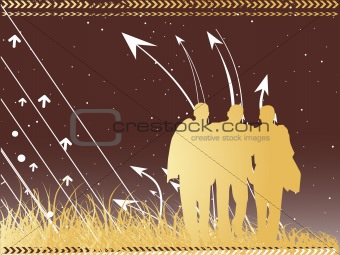 three business men and arrow on night background, brown wallpaper