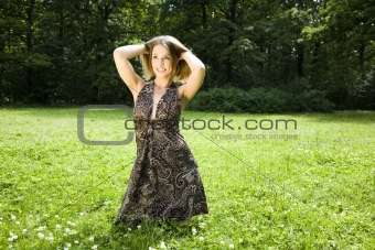 Beautiful Woman Relaxing In The Park