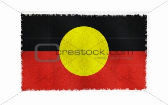Flag of Aboriginal on old wall background, vector wallpaper, texture, banner, illustration