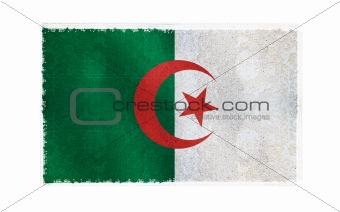Flag of Algeria on old wall background, vector wallpaper, texture, banner, illustration