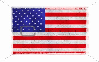 Flag of America on old wall background, vector wallpaper, texture, banner, illustration