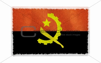 flag of Angola on old wall background, vector wallpaper, texture, banner, illustration