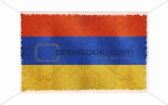 Flag of Armenia on old wall background, vector wallpaper, texture, banner, illustration