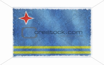 Flag of Aruba on old wall background, vector wallpaper, texture, banner, illustration