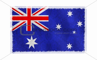 Flag of Australia on old wall background, vector wallpaper, texture, banner, illustration