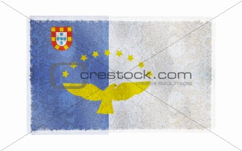 Flag of Azores on old wall background, vector wallpaper, texture, banner, illustration