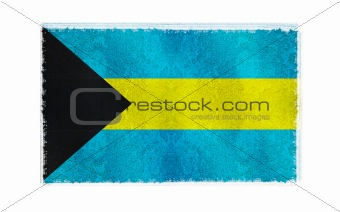 Flag of Bahamas on old wall background, vector wallpaper, texture, banner, illustration