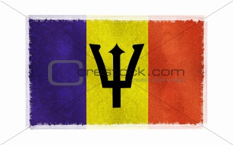 Flag of Barbsdos on old wall background, vector wallpaper, texture, banner, illustration