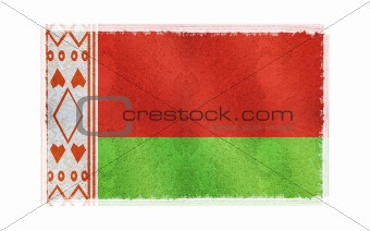 Flag of Belarus on old wall background, vector wallpaper, texture, banner, illustration