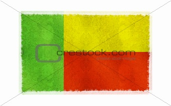Flag of Benin on old wall background, vector wallpaper, texture, banner, illustration