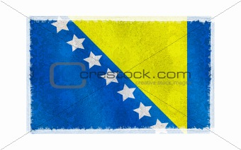 Flag of Bosin & Herzegovina on old wall background, vector wallpaper, texture, banner, illustration