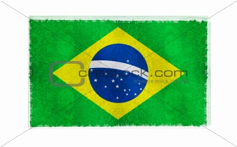 Flag of Brazil on old wall background, vector wallpaper, texture, banner, illustration
