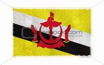 Flag of Brunei on old wall background, vector wallpaper, texture, banner, illustration