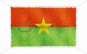 Flag of Burkino Faso on old wall background, vector wallpaper, texture, banner, illustration
