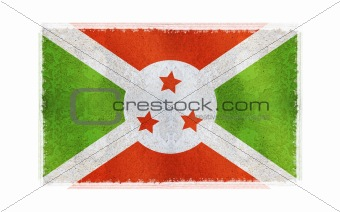 Flag of Burundi on old wall background, vector wallpaper, texture, banner, illustration