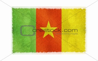 Flag of Cameroon on old wall background, vector wallpaper, texture, banner, illustration