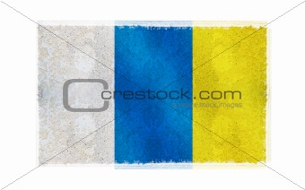 Flag of Canary Islands on old wall background, vector wallpaper, texture, banner, illustration