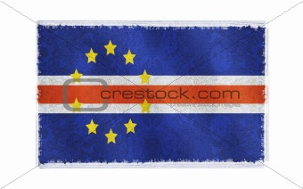 Flag of Cape Verde on old wall background, vector wallpaper, texture, banner, illustration