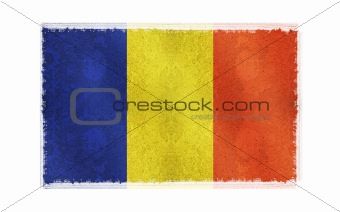 Flag of Chad Flag on old wall background, vector wallpaper, texture, banner, illustration