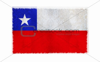 Flag of Chile on old wall background, vector wallpaper, texture, banner, illustration