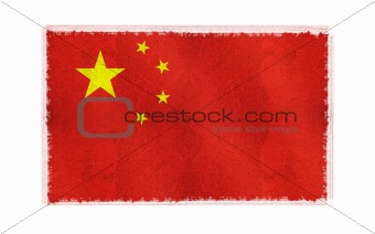 Flag of china on old wall background, vector wallpaper, texture, banner, illustration